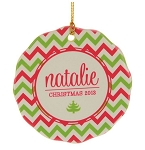 Personalized Family Name Pink & Green Chevron Ornament