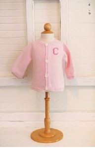 Monogrammed Child's Pink Knit Cardigan Sweater