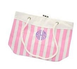 Monogrammed Pink Nautical Stripe Tote