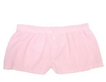 Monogrammed Ladies' Pink Seersucker Boxer Shorts
