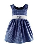 Monogrammed Navy Gingham Dress with White Sash