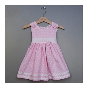 Monogrammed Pink Polka Dot Dress with Sash