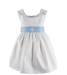 Monogrammed White Pique Dress with Light Blue Sash