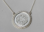 Coin Style Pendant with Raised Monogram Necklace