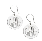 Monogrammed Round Earrings on French Wire