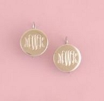 Round Monogrammed Silver Earrings