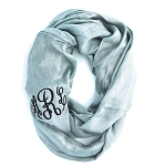 Monogrammed Solid Silver-Blue Infinity Scarf