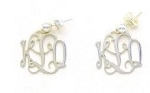 Monogrammed Floating Monogram Sterling Silver Earrings (Medium Size)