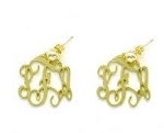 Monogrammed Floating Monogram Gold-Tone Earrings (Small Size)