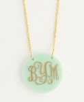 Monogrammed Small Round Acrylic Pendant Necklace