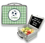 Personalized Green Gingham Soccer Ball Lunchbox