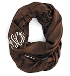 Monogrammed Solid Chocolate Brown Infinity Scarf