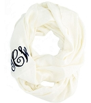 Monogrammed Solid Light Ivory Infinity Scarf