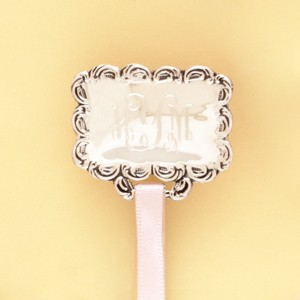 """Antique"" Rectangular Monogrammed Silver Pacifier Clip"