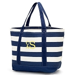 Monogrammed Striped Canvas Tote-Navy Blue