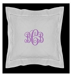 Monogrammed 12x12 Hemstitched Square Baby Pillow