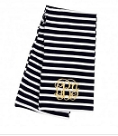 Monogrammed Black Striped Inifinity Scarf