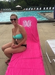 Monogrammed Velour Lounge Chair Cover