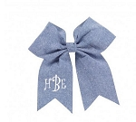 Monogrammed Chambray Hairbow