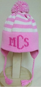 Personalized Striped Ear Flap Winter Hat
