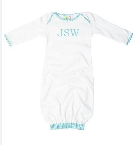 Monogrammed White and Blue Seersucker Baby Gown