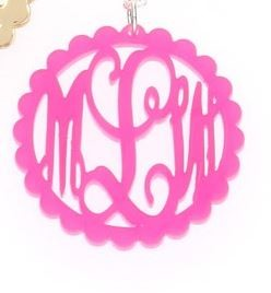 Hot Pink Acrylic Round Rimmed Pendant on Sterling Silver Chain