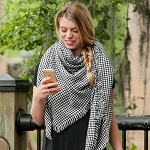 Monogrammed Black Houndstooth Inifinity Scarf