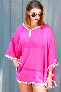 Hot pink with White Pom Poms Cover Up