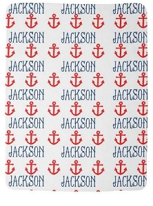 Adorable Double Sided Fleece Baby blanket With Name & Anchors