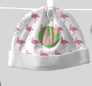Adorable Baby Beanie with Flamingo Design and Circle monogram