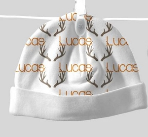 Adorable Baby Beanie with Name & Antler Design