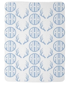 Adorable Double sided Blue Fleece Baby Blanket with Monogram & Antlers
