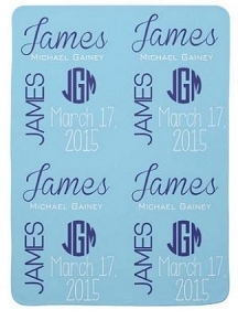 Adorable Double sided Fleece Baby Boy Name & Birth Date Blanket