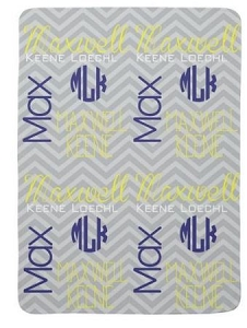 Adorable Double Sided Chevron Design Fleece Baby blanket