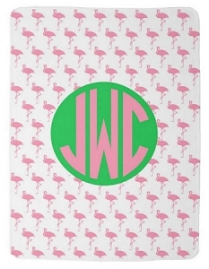 Adorable Double Sided Fleece Baby blanket with Monogram & Flamingos