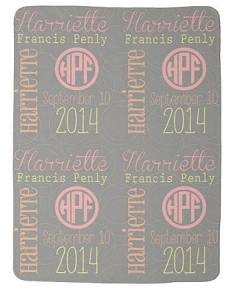 Adorable Double Sided Fleece Baby girl Name and Birthdate blanket