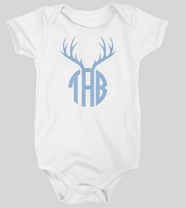 Personalized baby name and Antler Design Onesie