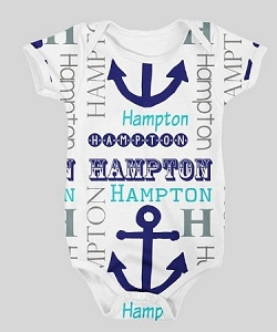 Personalized baby name and Anchor Design Onesie