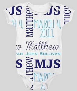 Personalized baby name and Birthdate Onesie