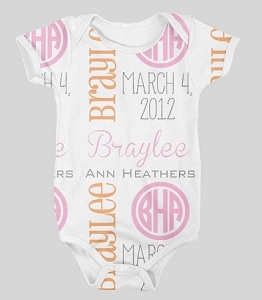 Personalized baby girls full name and birth date onesie