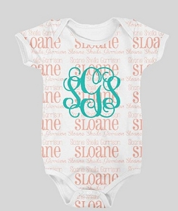 Adorable Full name and monogram onesie