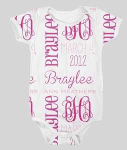 Personalized Girl's name, initials and Birthdate Design Onesie