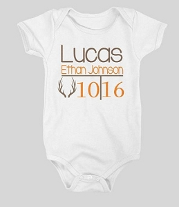 Personalized baby name and Birth Month & year with Antler Design Onesie