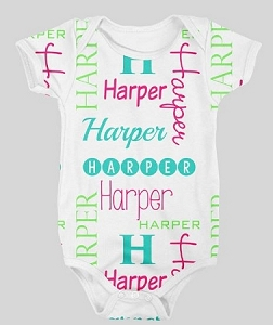 Personalized Bright, Fun colored baby name and initial Design Onesie