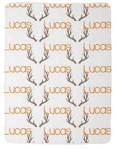 Adorable Double sided Fleece Baby Blanket  with Name in Orange and Antlers