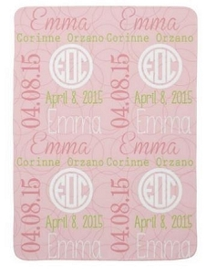 Adorable Double sided Fleece Baby Blanket with Name & Birth Date