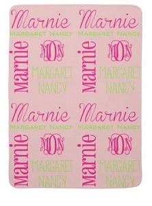 Adorable Double sided Pink Fleece Baby Blanket  with Name and monogram