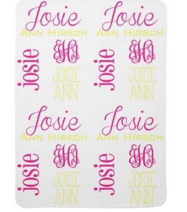 Adorable Double Sided Fleece Baby blanket  in Bright Pink and Yellow