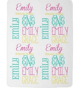 Adorable Multi Colored Name Minky Baby Blanket