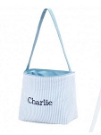 Personalized Light Blue Seersucker Stripe Easter Bucket